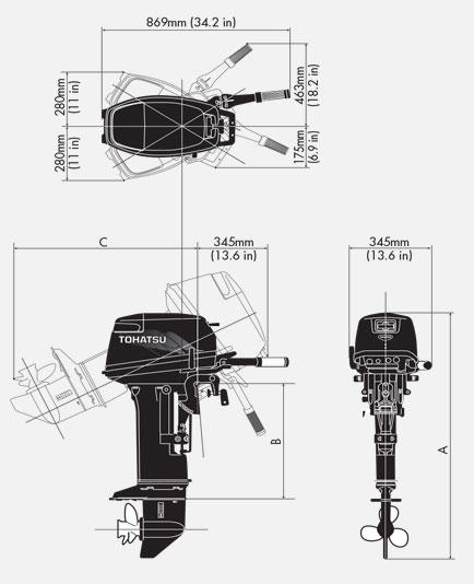 габариты подвесных моторов